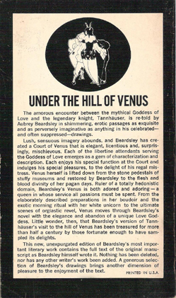 The Story of Venus and Tannhauser - Aubrey Beardsley (Tandem Books) (Back cover) (image)