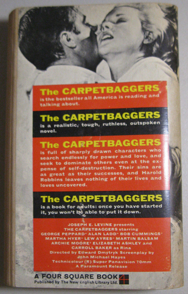 The Carpetbaggers - Robbins (New English Library, 1964) (back cover) (image)