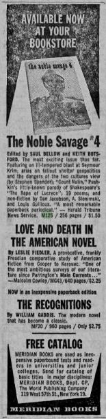 Meridian Books advert, Daily Iowan, 10 April 1962 (image)