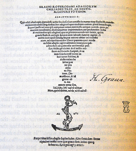 Erasmus, Adages (Aldine Press, 1508) (image)