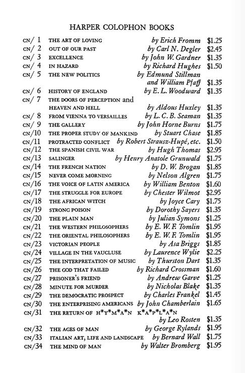 Harper Colonphon Books list (image)