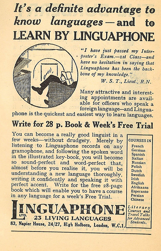 Linguaphone advert (UK, 1935) (image)