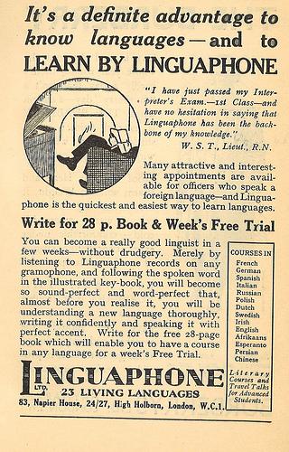 Linguaphone advert (UK, 1935) (image)