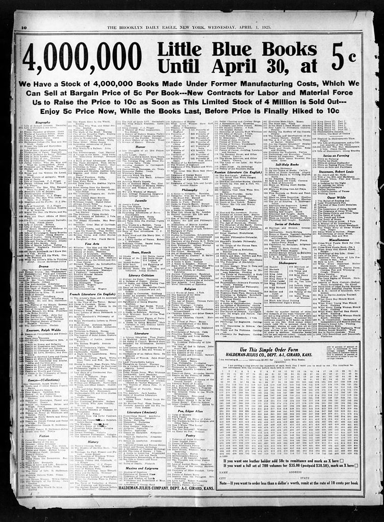Newspaper ad for Little Blue Books in Brooklyn Daily Eagle (Apr. 1, 1925) (image)