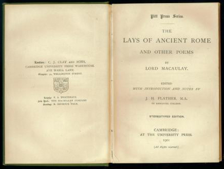 Macaulay - Lays of Ancient Rome (Pitt Press Series/CUP) (image 3)