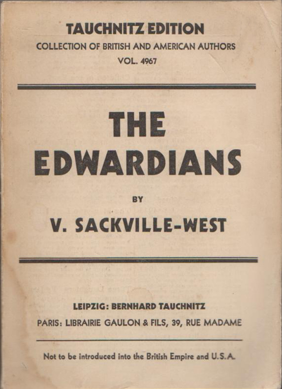 The Edwardians (V. Sackville-West (Tauchnitz/Collection of British & American Authors) (image)