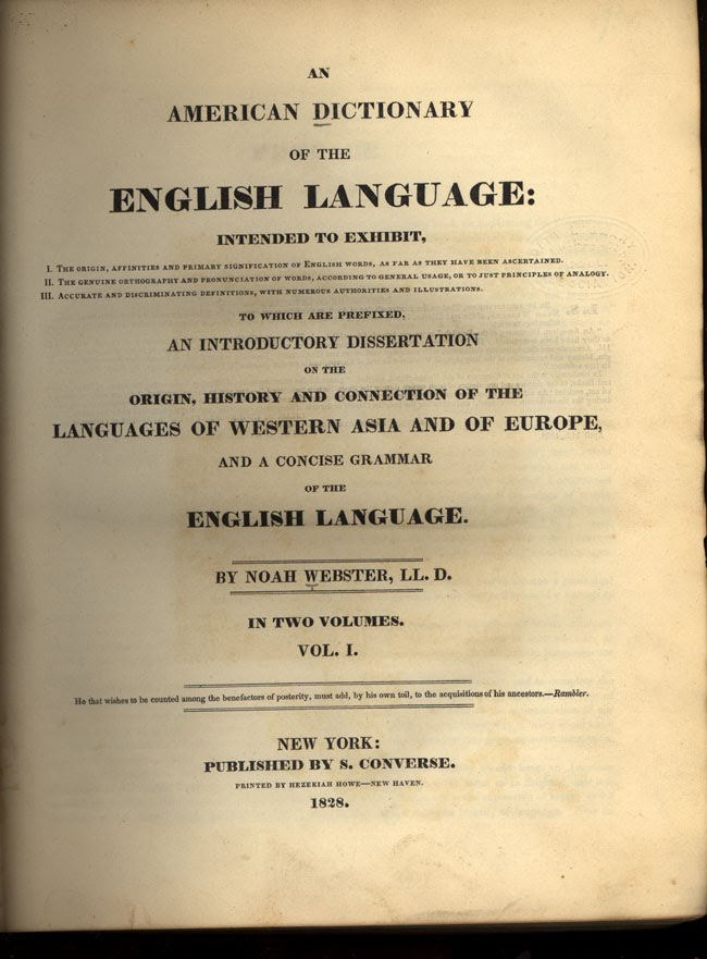 Webster's Dictionary (1828) image