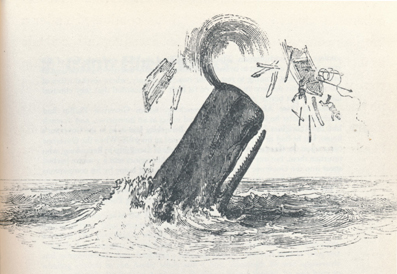 Sperm whale flinging whaleboat and men into the air (image)